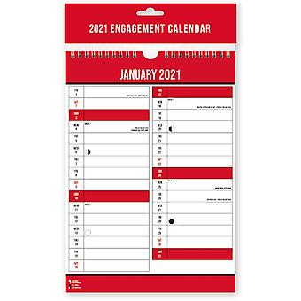 2021 Easy View One Month Per Page Spiral Bound Wall Engagement Calendar A4