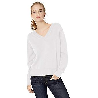Brand - Daily Ritual Women's 100% Cotton V-Neck Pullover Sweater, Whit...
