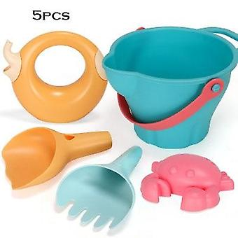 Summer Silicone Soft Baby Beach Toys Kids Mesh Bag Bath Play Set- Beach Party Cart Bucket Sand Molds Tool Water Games Gifts