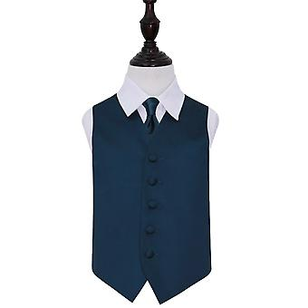 Navy Blue Plain Satin Wedding Waistcoat & Set di cravatte per ragazzi