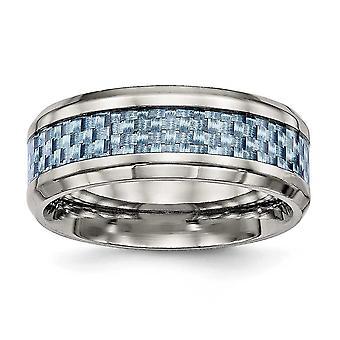 8mm Titanium gravable poleret Blue Carbon Fiber Indlæg Ring smykker Gaver til kvinder - Ring Størrelse: 7 til 13