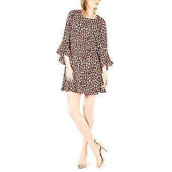 Bara III | Rochie bell-sleeve cheetah-print