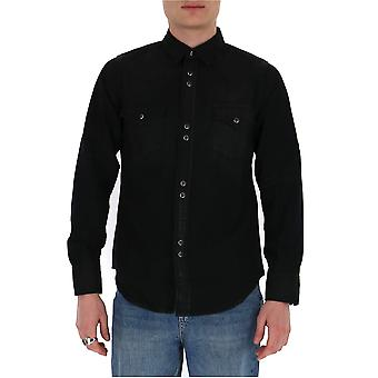 Saint Laurent 597061y881u1251 Men's Zwart Katoenen Shirt