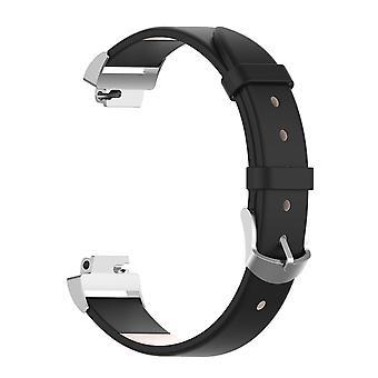 Für Fitbit Inspire / Inspire HR Band Echtes Leder Ersatz Armband[Schwarz]