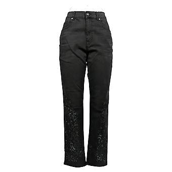 DG2 door Diane Gilman Women's Jeans Stretch Printed Denim Black 710-561