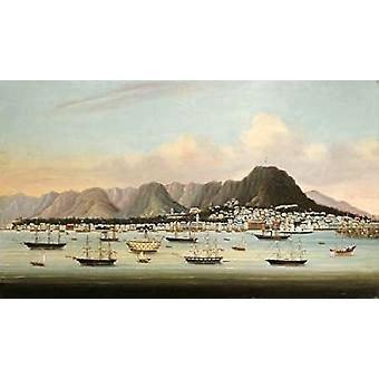 A View of Victoria Hong Kong With The Hulk HMS Princess Charlotte Poster Print by Chinese School
