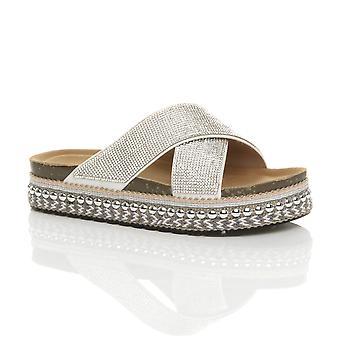 Plataforma feminina Ajvani escorrega em sandálias espadrille cravejadas de diamante