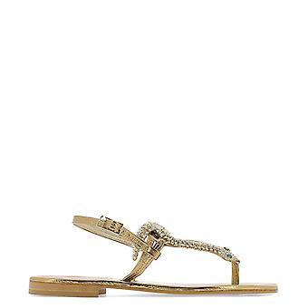 Emanuela Caruso J17boro Women's Gold Leather Flip Flops