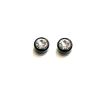 Earrings magnetic black with press fit 4mm cubic zirconia -sold as a pair