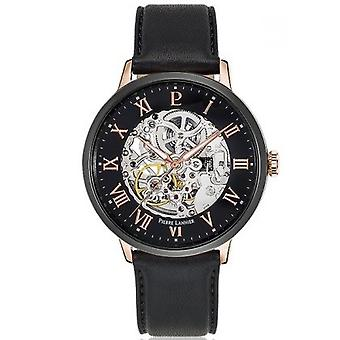 Pierre Lannier Watch 324b433 - automatisk klokke Bo tier stål eller rose Poli svart glass svart ekstern romersk svart lær armbånd menns