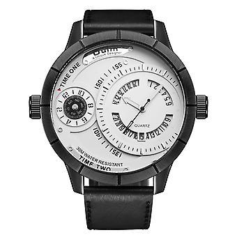 OULM HP6032 Ainutlaatuinen suunnittelukalenteri Luova kello Aito nahkahihna kvartsi