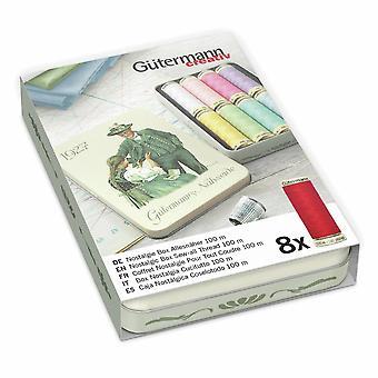 Gutermann Nostalgic '1927' Tin Set Sew-All 100m Polyester Thread- 8 Pastel Reels