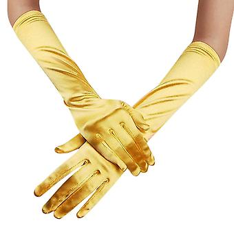 Satin Long Gloves, Womens Opera Comfy Soft Silky Evening Party Prom Hand