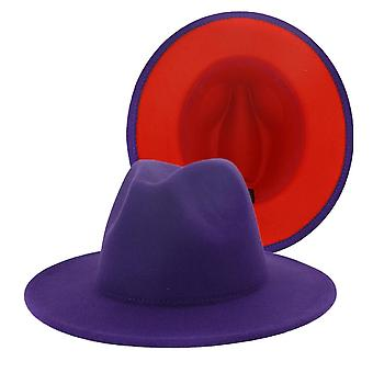 Unisex Panama Wool Felt Fedora Hats, Wide Brim Party Trilby Cowboy Hat