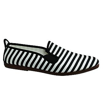 Estilo hilo dental Corella Unisex Espadrille Slip En Plimsolls Zapatos 55110 Blanco Negro