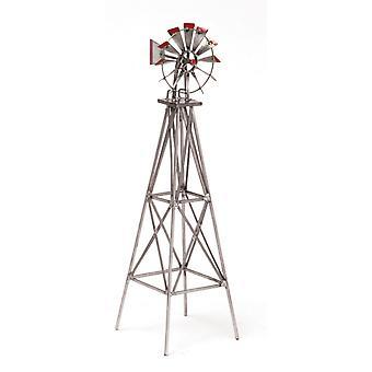 Puppen Haus Miniatur Garten Outdoor-Möbel Silber und rot Metall Windmühle