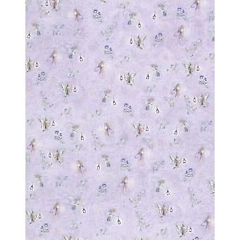 Melody Jane Dolls House Fairies On Lilac Miniature Print 1:24 Nursery Wallpaper