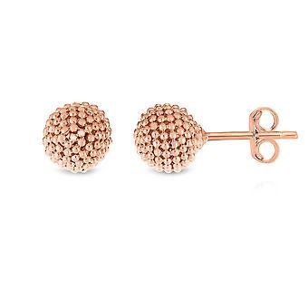 14k Pink Gold Bead Ball Stud Earrings