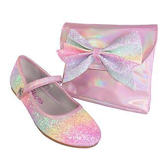Mädchen rosa Regenbogen Glitzer Ballerina Schuhe mit passender Tasche