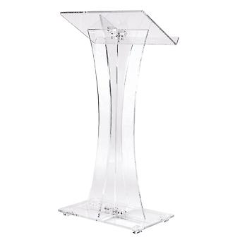Acrylic Curved Clear Church Pulpit Lectern, Thick, No Assembly, Inner Shelf &