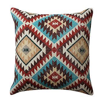 18 x 18 pulgadas Kilim impreso algodón acento almohada, rojo y azul
