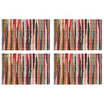 sets de table vidaXL 4 pcs. Chindi Uni multicolore 30 x 45 cm coton