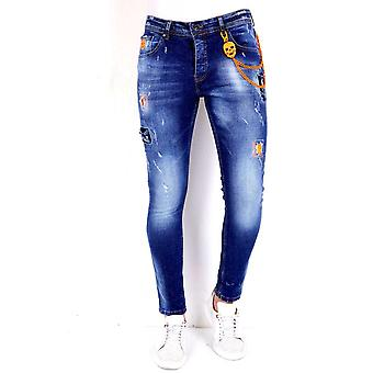 Pants With Paint Splashes - 1006 - Blue