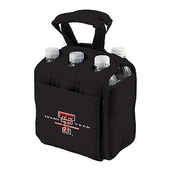 Six Pack - Enfriador de impresión digital negro (Texas Tech Red Raiders)