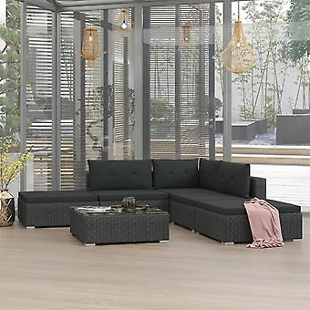 6 piezas jardín lounge set con cojines poli ratán negro