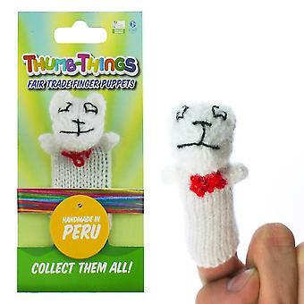 Witte Teddybeer Vingerpop (met Rode Boog)