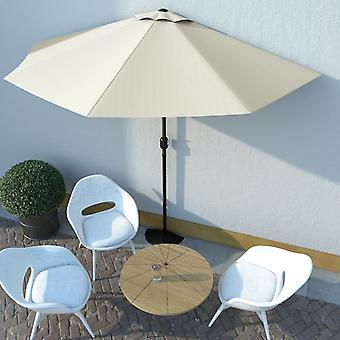 vidaXL شرفة المظلات مع الألومنيوم الصاري الرمال الألوان 300×150 سم شبه دائري