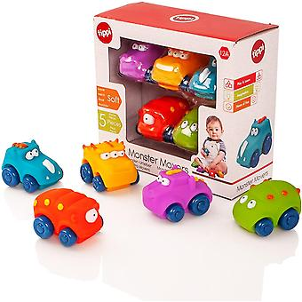 Monster Movers Soft Play Baby Toy Cars - Toy Car Set For 1 Year Old - Set of 5 - 1 Year Old Boy