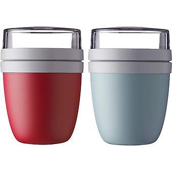 HanFei Lunchpot Ellipse 2-er Set Lunchbox (Nordic Red und Nordic Green)