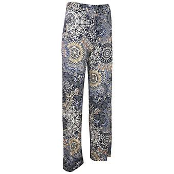 Latte Blue Tone Mandala Print Relaxed Fit Stretch Trousers