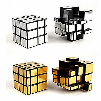 2 Pack 3x3x3 Square Mirror Speed Cube Puzzle Golden Silver