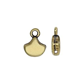 Cymbal Bead Endings for Ginko Beads, Karavos, 10x7mm, 2 Pieces, Antiqued Brass Plated