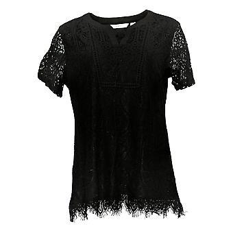Isaac Mizrahi Live! Tuniek kanten breisel voor dames W/ geweven trim zwart A354775