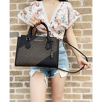 Michael kors hope medium messenger small satchel brown mk signature black