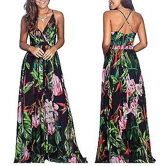 Women's Deep V-Neck Floral Summer Dress Casual (Green)