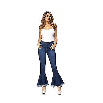 Nio-punkt tofs breda ben trimma tunna jeans
