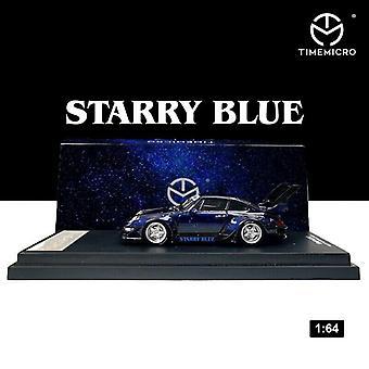 1/64 Porsche RWB 993 Malli auto Tähtitaivaa Sininen seos Die Cast Kokoelma Näyttö Lelu Lahjat