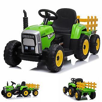 ES-Leker Barn Elektrisk Traktor med Tilhenger, 2 Elektriske Motorer, Fjernkontroll
