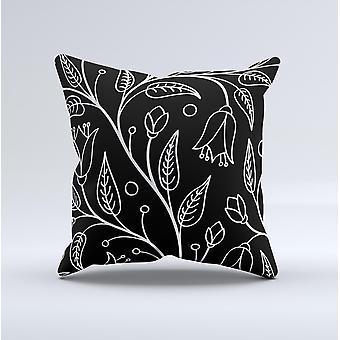 Schwarz und weiß Vektor Zweige Tinte-fuzed dekorative Werfen Kissen