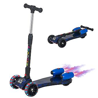 HOMCOM Scooter for Kids Toddler 3 Wheel Adjustable Height w/ Flashing Wheels Music Water Spray Foldable Kick Scooter for Boys and Girls 3 - 8 Yrs Blue