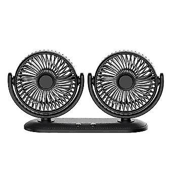 12/24V Portable Mini Car Fan 360 Degree All Air Cooling Dual Usb Fans Quiet Small Desktop Fan Fans