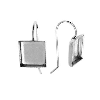 Earring Wire, Square Bezel 10mm, Bright Silver, 1 Pair, by Nunn Design