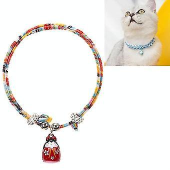 4 PCS Einstellbare Haustierglocke Farbe Baumwolle gewebte Katze und Hund Universal Halsband, Farbe: Buntes Seil Rot