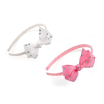 Girls Crystal Spotted Fabric 8.5cm Bow On Fabric Alice Band in Pink or White