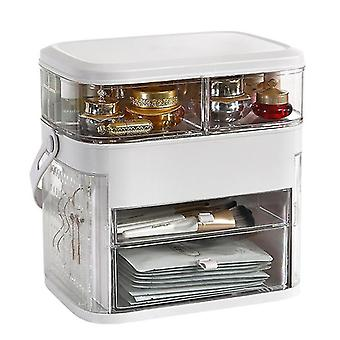 Household storage containers multi layer led jewelry box with mirror cosmetics organizer jewelry display casket box christmas gift box