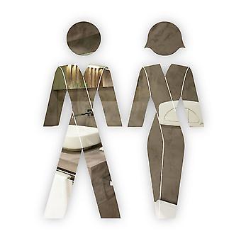 Mies - ja naispuoliset PUVUT Ihmiset WC WC-ovikyltit akryylipeilissä